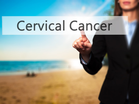 papillomavirus: Cervical Cancer - Isolated female hand touching or pointing to button. Business and future technology concept. Stock Photo Stock Photo
