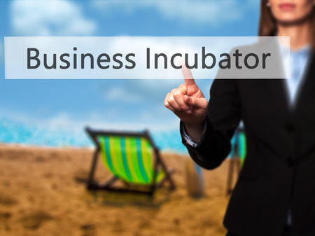 incubation: Business Incubator - Businesswoman pressing high tech  modern button on a virtual background. Business, technology, internet concept. Stock Photo