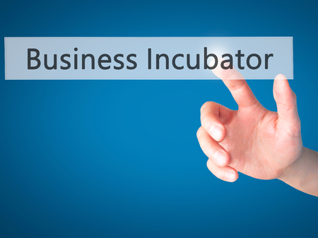 incubation: Business Incubator - Hand pressing a button on blurred background concept . Business, technology, internet concept. Stock Photo Stock Photo