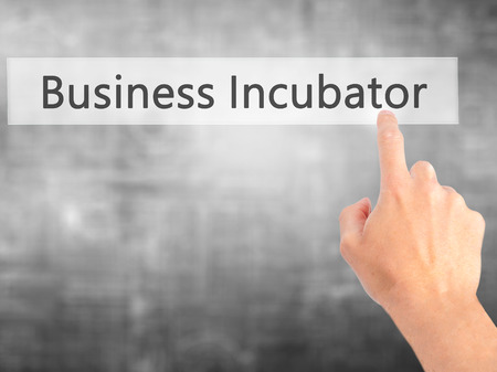 incubator: Business Incubator - Hand pressing a button on blurred background concept . Business, technology, internet concept. Stock Photo Stock Photo