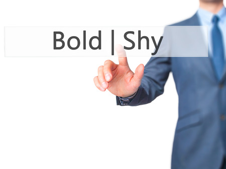 outspoken: Bold Shy - Businessman hand touch  button on virtual  screen interface. Business, technology concept. Stock Photo