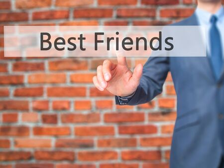 Best Friends - Businessman pressing virtual button. Business, technology  concept. Stock Photo