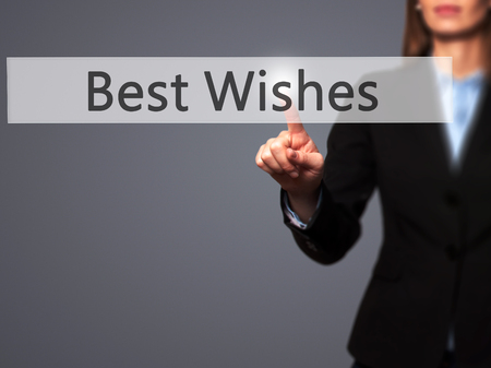 to acclaim: Best Wishes -  Successful businesswoman making use of innovative technologies and finger pressing button. Business, future and technology concept. Stock Photo Stock Photo