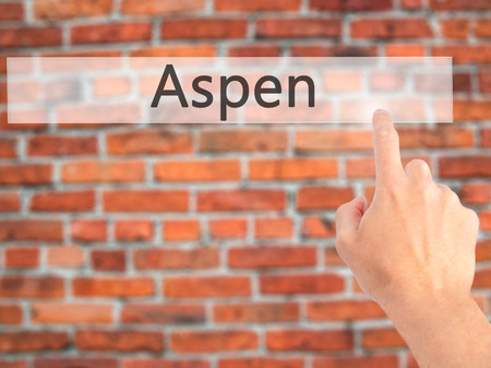 Aspen - Hand pressing a button on blurred background concept . Business, technology, internet concept. Stock Photo Stock Photo