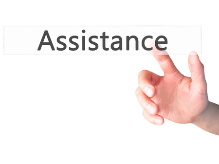 personal data assistant: Assistance - Hand pressing a button on blurred background concept . Business, technology, internet concept. Stock Photo Stock Photo