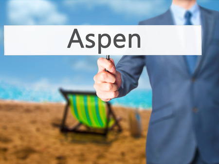 Aspen - Business man showing sign. Business, technology, internet concept. Stock Photo