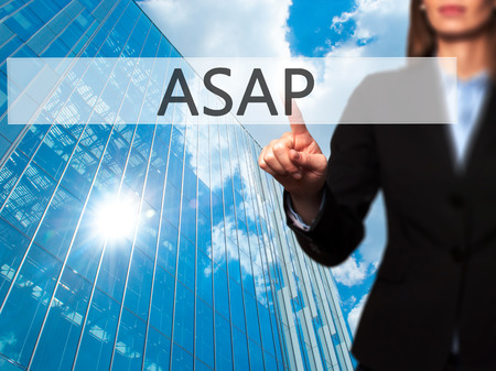 importance: ASAP - Isolated female hand touching or pointing to button. Business and future technology concept. Stock Photo Stock Photo