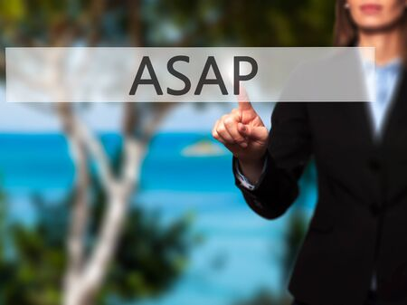 ASAP - Isolated female hand touching or pointing to button. Business and future technology concept. Stock Photo Stock Photo