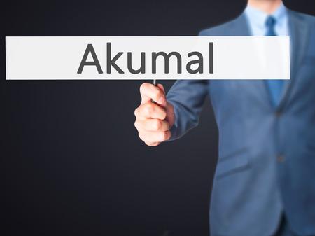 caribe: Akumal - Businessman hand holding sign. Business, technology, internet concept. Stock Photo