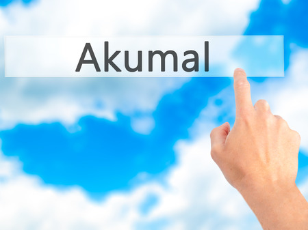 caribe: Akumal - Hand pressing a button on blurred background concept . Business, technology, internet concept. Stock Photo Stock Photo