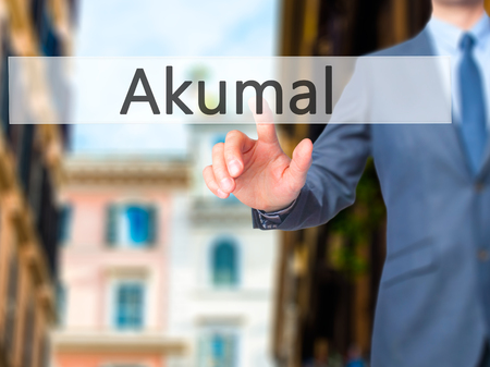 roo: Akumal - Businessman press on digital screen. Business,  internet concept. Stock Photo