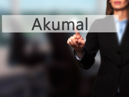 caribe: Akumal - Isolated female hand touching or pointing to button. Business and future technology concept. Stock Photo