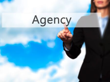 Agency - Isolated female hand touching or pointing to button. Business and future technology concept. Stock Photo Stock Photo