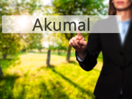 Akumal - Isolated female hand touching or pointing to button. Business and future technology concept. Stock Photo