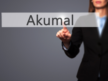 roo: Akumal - Isolated female hand touching or pointing to button. Business and future technology concept. Stock Photo