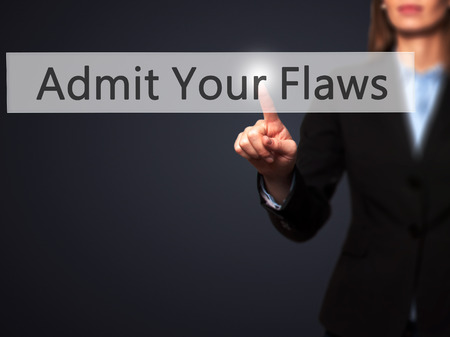 admit: Admit Your Flaws - Isolated female hand touching or pointing to button. Business and future technology concept. Stock Photo