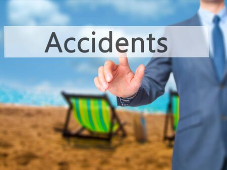 dui: Accidents - Businessman press on digital screen. Business,  internet concept. Stock Photo