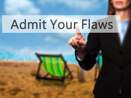 Admit Your Flaws - Isolated female hand touching or pointing to button. Business and future technology concept. Stock Photo