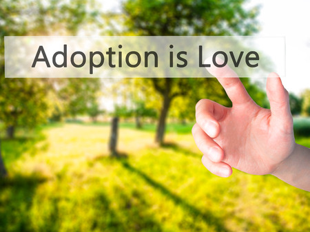 Adoption is Love - Hand pressing a button on blurred background concept . Business, technology, internet concept. Stock Photo Stock Photo