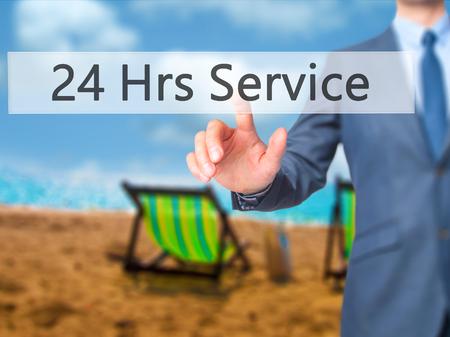 hrs: 24 Hrs Service - Businessman press on digital screen. Business,  internet concept. Stock Photo Stock Photo