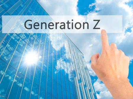 gen: Generation Z - Hand pressing a button on blurred background concept . Business, technology, internet concept. Stock Photo Stock Photo