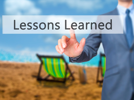 encapsulate: Lessons Learned - Businessman press on digital screen. Business,  internet concept. Stock Photo