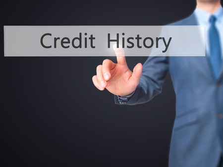 creditworthiness: Credit History - Businessman press on digital screen. Business,  internet concept. Stock Photo