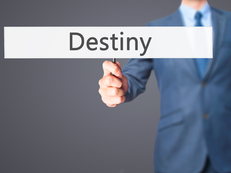 destiny: Destiny - Business man showing sign. Business, technology, internet concept. Stock Photo
