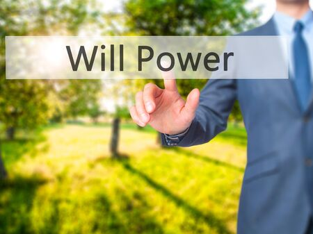 Will Power - Businessman hand touch  button on virtual  screen interface. Business, technology concept. Stock Photo Stock Photo