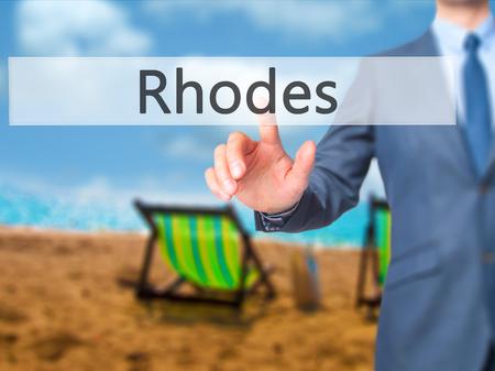 tsambika: Rhodes - Businessman hand touch  button on virtual  screen interface. Business, technology concept. Stock Photo Stock Photo