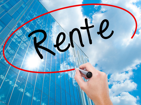 Man Hand writing Rente (Pension in German) with black marker on visual screen.  Business, technology, internet concept. Stock Photo Banco de Imagens