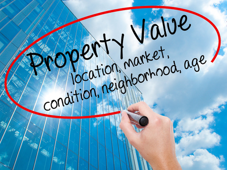 Man Hand writing Property Value - location, market, condition, neighborhood, age with black marker on visual screen. Business, technology, internet concept. Modern business skyscrapers background. Stock Image Stock Photo