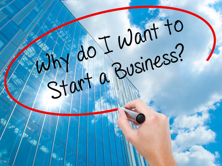 Man Hand writing Why do I Want to Start a Business? with black marker on visual screen. Business, technology, internet concept. Modern business skyscrapers background. Stock Photo