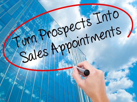 the prospects: Man Hand writing Turn Prospects Into Sales Appointments with black marker on visual screen.  Business, technology, internet concept. Stock  Photo