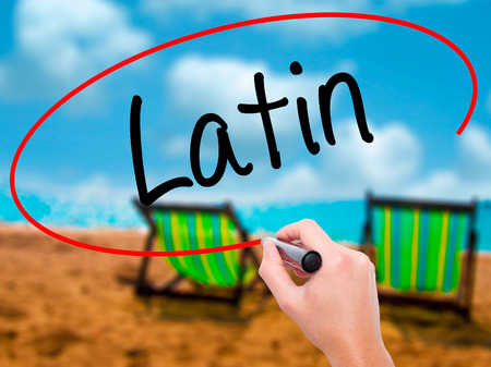 Man Hand writing Latin with black marker on visual screen. Isolated on sunbed on the beach. Business, technology, internet concept. Stock Photo