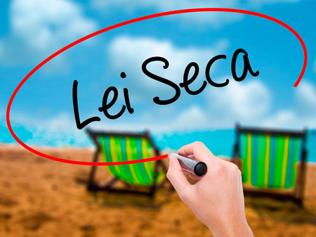 law of brazil: Man Hand writing Lei Seca (Prohibition Alcohol Law n Portuguese) with black marker on visual screen. Isolated on sunbed on the beach. Business, technology, internet concept. Stock Photo Stock Photo