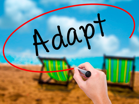 Man Hand writing Adapt with black marker on visual screen. Isolated on sunbed on the beach. Business, technology, internet concept. Stock Photo Stock Photo