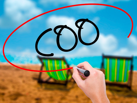 coo: Man Hand writing COO (Chief Operating Officer) with black marker on visual screen. Isolated on sunbed on the beach. Business, technology, internet concept. Stock Photo