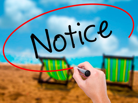 Man Hand writing Notice with black marker on visual screen. Isolated on sunbed on the beach. Business, technology, internet concept. Stock Photo
