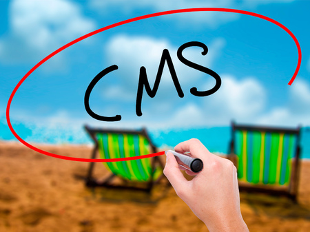 Man Hand writing CMS (Custom Management System) with black marker on visual screen. Isolated on sunbed on the beach. Business, technology, internet concept. Stock Photo