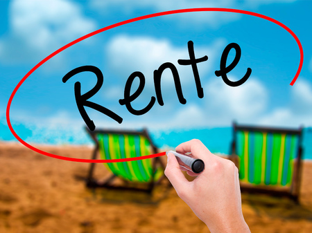 oldage: Man Hand writing Rente (Pension in German) with black marker on visual screen. Isolated on sunbed on the beach. Business, technology, internet concept. Stock  Photo