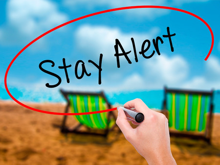 Man Hand writing Stay Alert with black marker on visual screen. Isolated on sunbed on the beach. Business, technology, internet concept. Stock Photo
