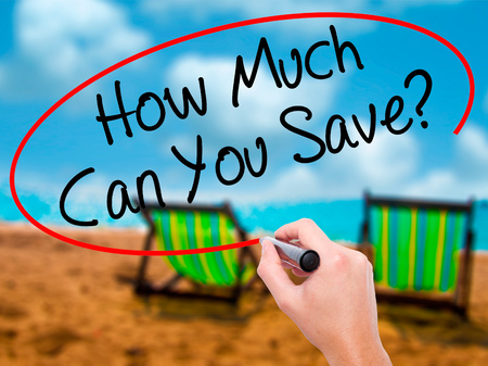 budgetary: Man Hand writing How Much Can You Save? with black marker on visual screen. Isolated on sunbed on the beach. Business, technology, internet concept. Stock Photo Stock Photo