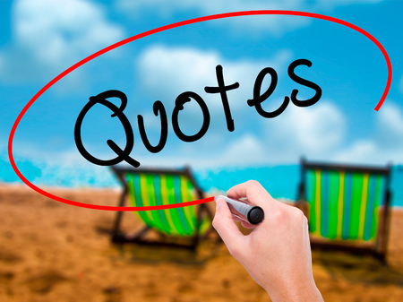 stimulus: Man Hand writing Quotes  with black marker on visual screen. Isolated on sunbed on the beach. Business, technology, internet concept. Stock Photo