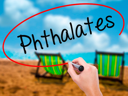 visual screen: Man Hand writing  Phthalates  with black marker on visual screen. Isolated on sunbed on the beach. Business, technology, internet concept. Stock Photo