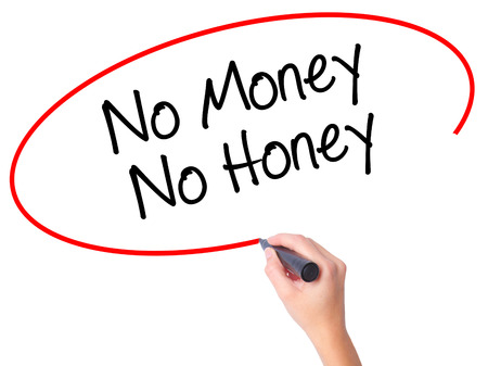 Women Hand writing No Money No Honey with black marker on visual screen. Isolated on white. Business, technology, internet concept. Stock Photo Stock Photo