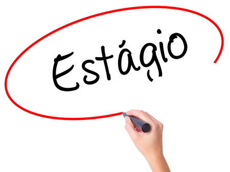 apprenticeship employee: Women Hand writing Est????��?gio (Internship in Portuguese)  with black marker on visual screen. Isolated on white. Business, technology, internet concept.