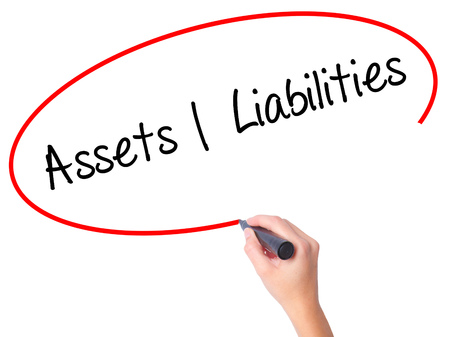 liabilities: Women Hand writing Assets Liabilities with black marker on visual screen. Isolated on white. Business, technology, internet concept. Stock Photo