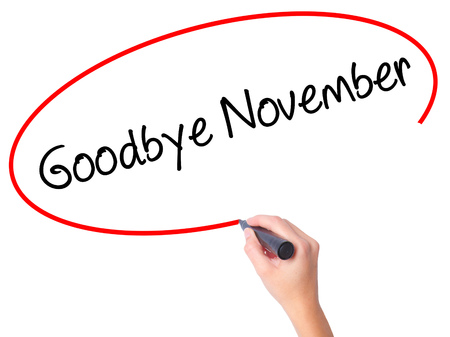 Women Hand writing Goodbye November with black marker on visual screen. Isolated on white. Business, technology, internet concept. Stock Photo