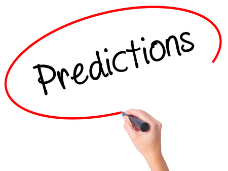 stock predictions: Women Hand writing Predictions  with black marker on visual screen. Isolated on white. Business, technology, internet concept. Stock Photo